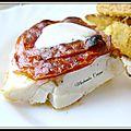 Cabillaud en Croûte de Chorizo, Frites de Panais à la <b>Farine</b> de <b>Pois</b> <b>Chiches</b> et Parmesan