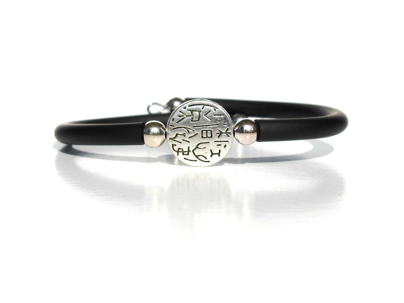 bracelet noir perle ronde métal motif tribal