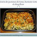 Gratin de pommes de terre, <b>haricots</b> <b>verts</b> et chou fleur