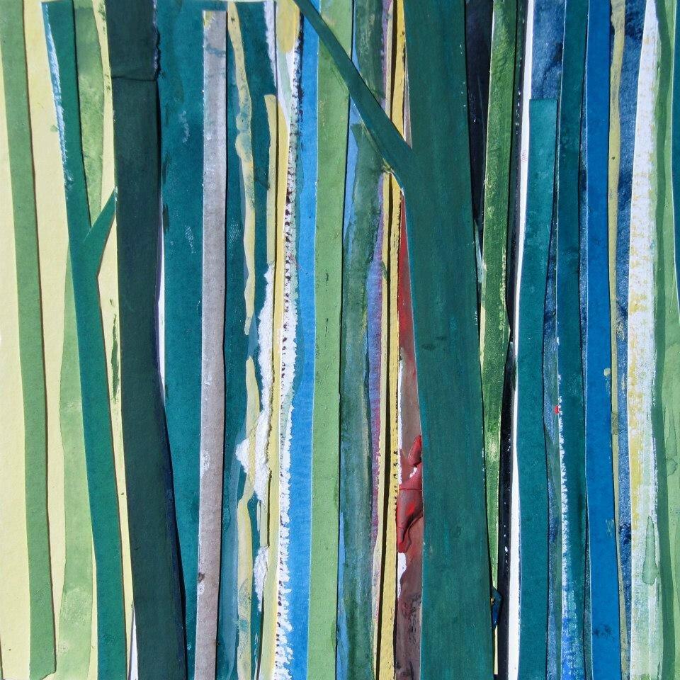 Forêt #3, 2011, acrylique, collage et coulures sur papier, 32 x 24 cm