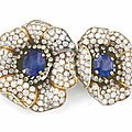 A sapphire and diamond 'Gauguin' flower brooch, by <b>Van</b> <b>Cleef</b> & Arpels