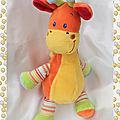 Doudou Peluche Girafe Orange Et Jaune Pattes Rayures <b>Mots</b> <b>D</b>'<b>Enfants</b>