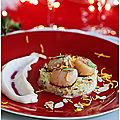 Saint jacques saisies, nage réduite au vin blanc rémoulade de céleri, pomme granny crème de vin blanc