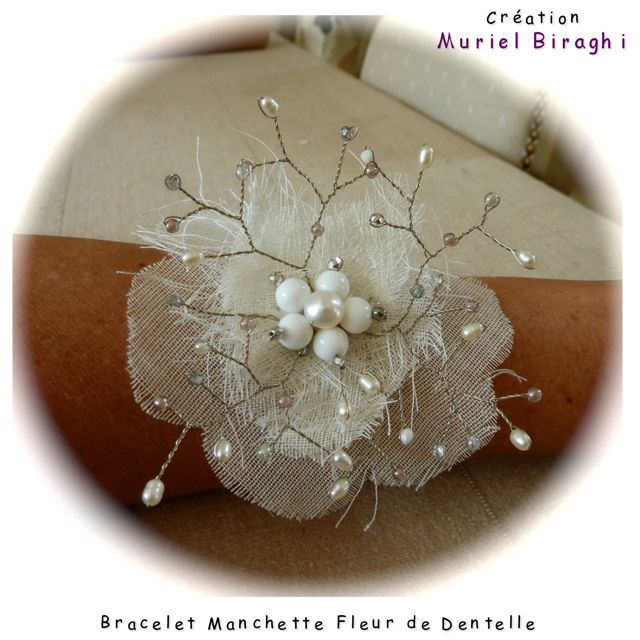 Bracelet Manchette Fleur Dentelle