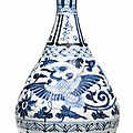 A blue and white '<b>Phoenix</b>' vase, yuhuchunping, Yuan dynasty (1279-1368)