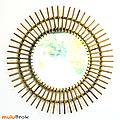 Vintage ... grand miroir soleil rotin bambou * hermine