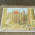 Ancienne affiche scolaire agriculture/gratte-ciel