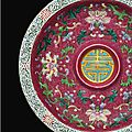 An extremely rare <b>ruby</b>-<b>ground</b> 'yangcai' cup and acupstand, Seal marks and period of Qianlong (1736-1795)