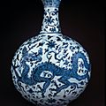 Blue-and-white flask with dragons. Ming dynasty, Yongle period, AD 1403–24