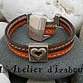 Et pourquoi pas une parure <b>bague</b> + bracelet assortis en cuir ? Voilà ! <b>Bague</b> cuir cousu camel et orange et bracelet assorti !