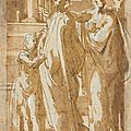 Girolamo Francesco Mazzola, il <b>Parmigianino</b> (Parma 1503-1540 Casalmaggiore), A group of figures standing by a column