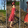 Robe rouge à pois blancs minnie
