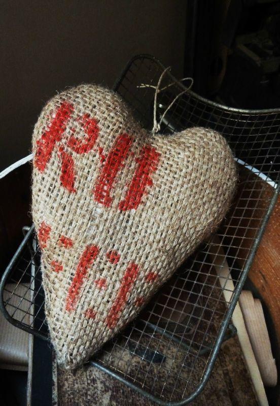 coeur à suspendre, toile de jute