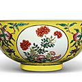 A fine famille-rose yellow-ground 'medallion' bowl, jiaqing seal mark and period (1796-1820)