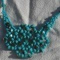 Collier flocons turquoise et turquoise silk, détail.