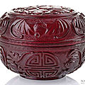 A <b>ruby</b>-<b>red</b> covered <b>glass</b> bowl with symbols of Good Luck and Longevity, China, probably Republic