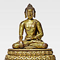 A gilt copper alloy figure of Shakyamuni, Khasa <b>Malla</b>, 13th-14th century
