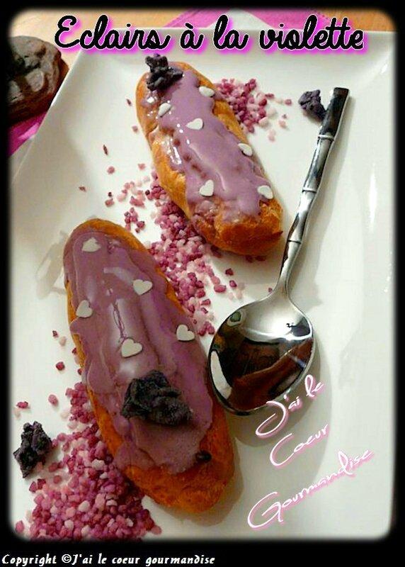 Eclairs à la violette et chouquettes au chocolat