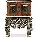 Cabinet flamand en bois laqué et doré sur fond rouge et noir, <b>XVIIème</b> <b>siècle</b>, piétement d'époque Charles II, Angleterre