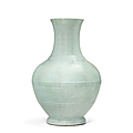 A rare and importantru-type glazed vase,hu, Yongzheng six-character seal mark in underglaze blue and of the period(1723-<b>1735</b>)