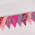 Guirlande fanions personnalisée prénom Lilwen deco chambre bébé fille banderole rose mauve violet liberty cadeau naissance baptême personnalisé