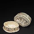Boite de forme polylobée en ivoire à traces de polychromie, chine, epoque qianlong (1736 - 1795)