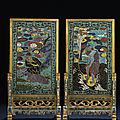 A very rare pair of <b>cloisonné</b> <b>enamel</b> table screens and stands, Kangxi period (1662-1722)