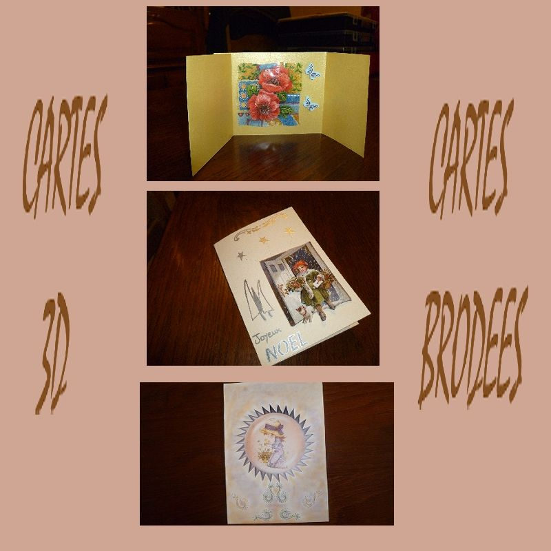 Cartes 3d , cartes brodées