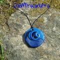 Collier graphik bleu métal et perle noire (20)