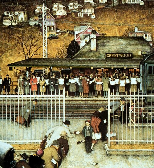 Commuters, art by Norman Rockwell