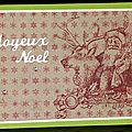 <b>Carte</b> de Noël traditionnelle et un brin rétro avec le Père Noël