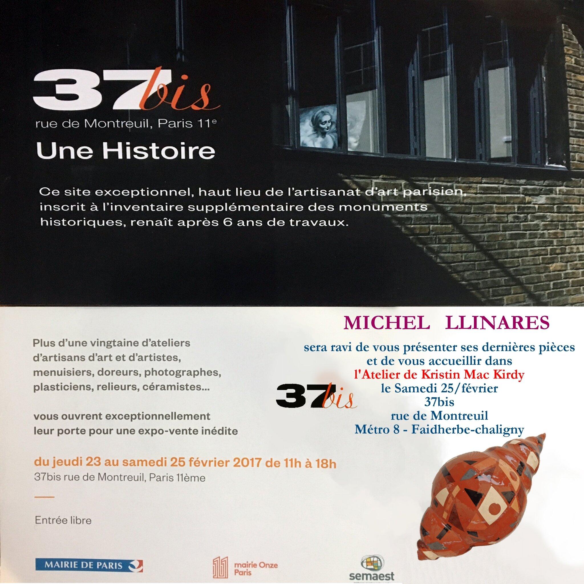 """Michel Llinares EXPOSITION au """"37bis"""" - Paris - du 23 au 25 février 2017"""