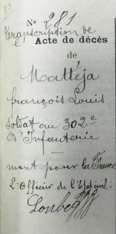 transcription de l'acte de décès de François Louis Mattéja (1)