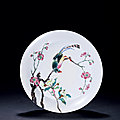 A Famille-Rose Peach-Blossom and <b>Bird</b> Dish, Yongzheng Period, 1723-1735