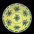 A rare ming-style yellow-ground blue and white conical bowl, qianlong six-character seal mark and of the period