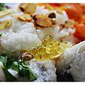 Lotte au citron vert, lait de coco, gingembre, cardamone, riz basmati, amandes effilées, coriandre, perles de citron....