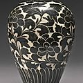 A 'Cizhou' 'Sgraffito' 'Peony' <b>vase</b> (meiping), Northern Song dynasty (960-1127)