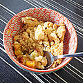 Crumble mangue rhubarbe