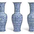 A set of three exceptional and large blue and white '<b>Longevity</b>' <b>vases</b>, Qing dynasty, Kangxi period (1662-1722)