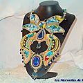 Collier Papillon Or Bleu 12