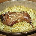 Cuisse de poule confite en gratin