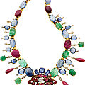 Multi-Stone, Diamond, Gold Convertible Necklace-Brooch, <b>Seaman</b> <b>Schepps</b>