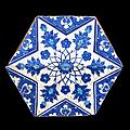 Carreau au médaillon étoilé bichrome, Iznik, vers <b>1530</b>-<b>1540</b>
