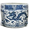 A large blue and white 'Dragon' censer, Ming dynasty Wanli period, dated 1611