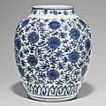 A Large Blue And White '<b>Lotus</b>' <b>Jar</b>. Wanli Period (1573-1620)