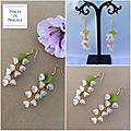 Boucles d'oreilles petites fleurs blanches