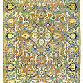 An important Safavid silk and <b>metal</b>-<b>thread</b> 'Polonaise' carpet, Isfahan, Central Persia, first quarter 17th century