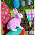 le lapin rose et le caillou à pois