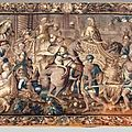 Tapisserie d'aubusson en laine et soie représentant l'entrée triomphale d'alexandre dans la ville de babylone. vers 1700