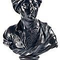 Buste présumé du peintre <b>Rigaud</b> en plomb. Début XVIIIe siècle